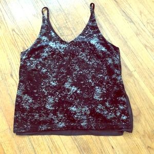 Black/silver strappy tank with underlay